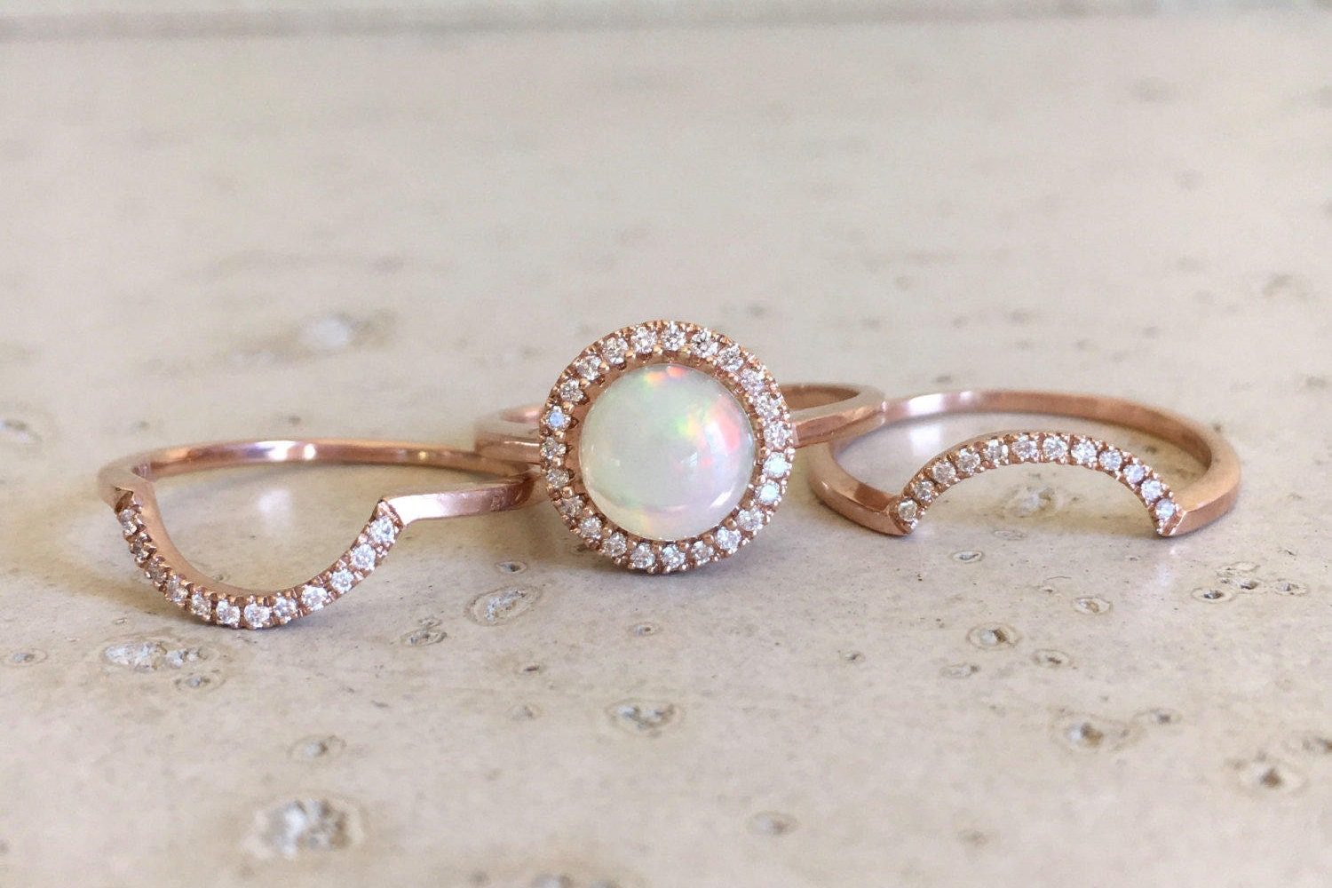 Round Opal Engagement Ring  Rose Gold Opal Engagement Ring Set  Genuine Opal  Bridal Set Ring  Fire Opal Halo Wedding Ring Set