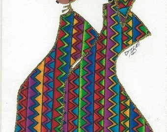 Customizable,Ethnic, African American, Any Occasion, Fabric Greeting Cards - by PaintedThreads