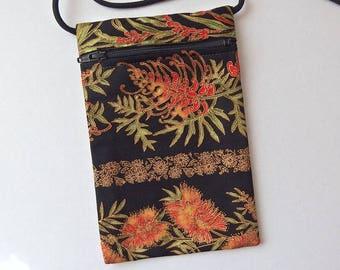 "Pouch Zip Bag Australian Bottlebrush Fabric.  Great for walkers, markets, travel. Cell Phone Pouch.  Native flower black bag 6.75 x 4.5"""