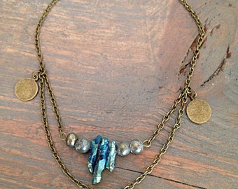 Astrape. A Titanium Quartz and Pyrite Anklet