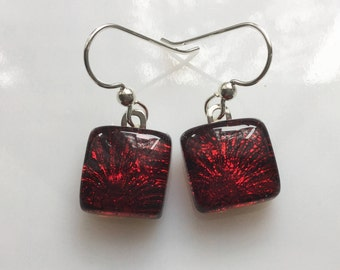Red Dichroic Glass Earrings, Fused Glass Jewelry, Ruby Red French Hook Earrings