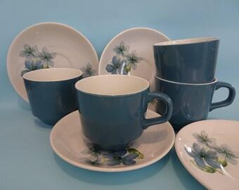 1960s Crown Lynn Sapphire Tea cup and saucer set (8 pieces) Retro vintage New Zealand ceramics