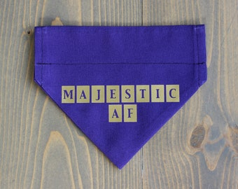 Majestic AF Pet Bandana, Purple, Gold, Over the Collar, Collar NOT include, Cat Royalty, Dog Clothing, Handmade in Canada