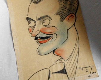 Caricature of 1945, signed VOY