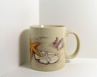 Vintage Otagiri Mercantile Company OMC Seashell Coffee Mug - Made in Japan - Sand Dollar Starfish