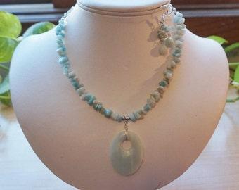 Blue Amazonite Gemstone Necklace Set,  Women's Necklace, Blue Pendant Necklace