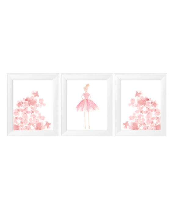 Prima Ballerina and Flowers Prints, Set of 3 - 11x14