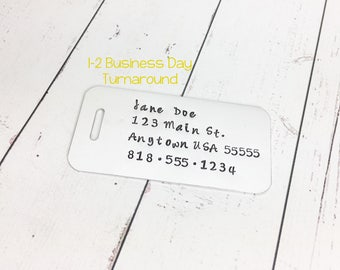 Hand Stamped Luggage Tag - Aluminum Luggage Tag - Luggage Identification - Metal Luggage Tag - Personalized Luggage Tag