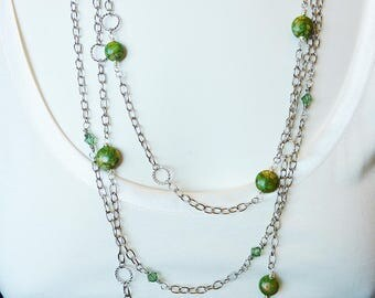 Long Triple Strand White Gold Necklace with Green Crystal and Turquoise Stones