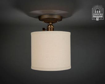 Flush Ceiling Mount | Semi-Flush | Edison Bulb Light Fixture | Oil Rubbed Bronze | Line Drum Shade