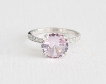GIA Certified 2.43 Cts. Lavender Pink Sapphire Diamond Engagement Ring in 18K White Gold