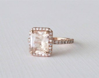 3.18 Cts GIA Certified Radiant Cut Peach Sapphire Diamond Halo Engagement Ring in 14K Rose Gold