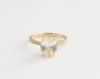 Oval Light Yellow Sapphire Solitaire  Diamond Ring in 14K Yellow Gold