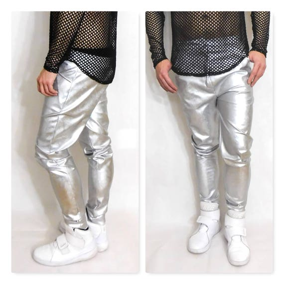 Jeans style Matte Silver Metallic Pants Pant Faux Leather Like Silver Metallic Pant  Jeans Style