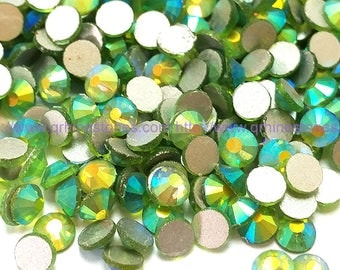 144pcs Light Green Peridot AB Flat Back Crystal Rhinestone Aurora Borealis Effect 4mm 5mm