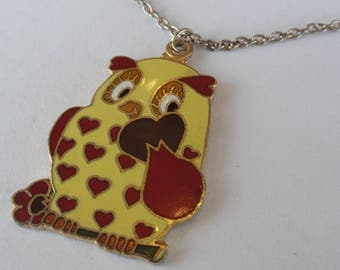 Vintage Yellow & Red Retro Owl Hearts Pendant Necklace