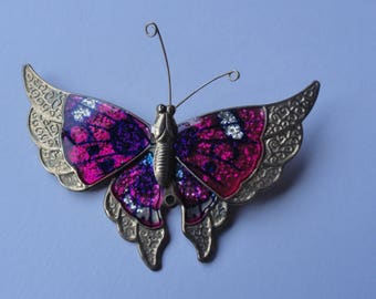 Vintage Pink & Gold Tone Large Butterfly Brooch