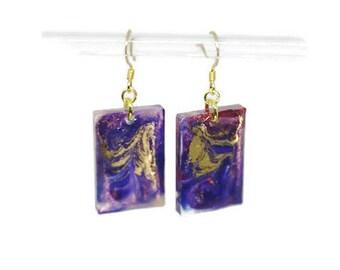 Oblong Resin Swirl Earrings