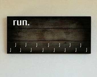 """Race Medal Holder /  Race Medal Hanger. """"Run."""" Wood Wall Mounted Wood Organizer. CUSTOMIZATION Available"""