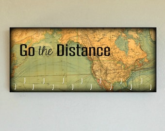 """Race Medal Holder /  Race Medal Hanger. """"Go the Distance"""" World Map. Wood Wall Mounted Wood Organizer. CUSTOMIZATION Available"""