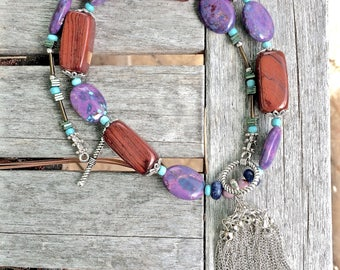 Mohave Purple Turquoise necklace, Turquoise and Wood necklace, Stone and Wood necklace, Long necklaces, boho necklace, Free shipping