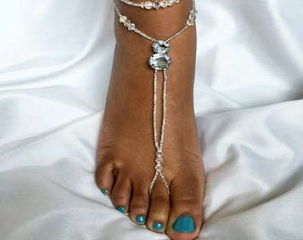 Crystal Beach Wedding Barefoot Sandal Barefoot Sandal Foot Jewelry Beach Wedding Barefoot Sandal Rhinestome Anklet