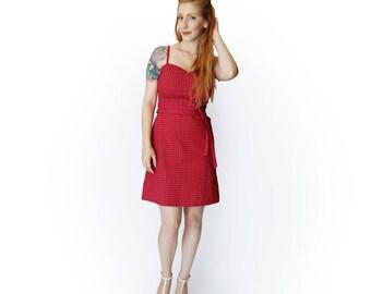 Red dress, Summer Dress, Floral dress, Red dress belt, Above the knee dress, Party dress, Clubwear dress, Casual dress, Sleeveless dress,