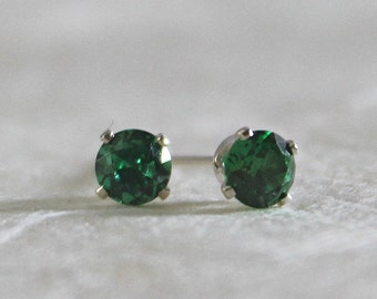 Emerald Stud Earrings - 4mm Emerald Studs - Green Studs - May Birthstone Studs - Gifts for Her - Gifts Under 25 - Emerald Studs - Silver