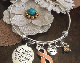 Uterine Endometrial Vaginal Cancer Awareness Bracelet - Peach Ribbon Survivor Gift - Little but Fierce / Chemo Gift