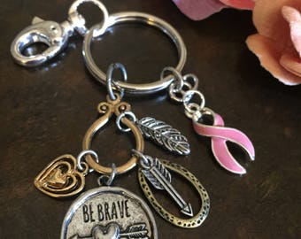 Pink Ribbon Keychain / Be Strong Encouragement / Breast Cancer Survivor Awareness Gift / BRCA / Mastectomy Chemo Gift