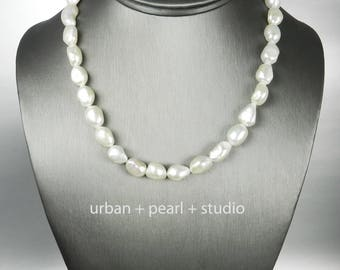 Baroque Freshwater Pearl Jewelry Set Necklace and Pearl Drop Earrings Organic Natural Pearl Strand Gift Under 100