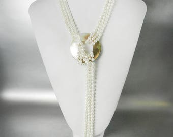 Long Pearl Necklace Multi Strand Lariat Necklace Mother of Pearl Shell Clasp Pearl Belt Vintage Pearl Jewelry