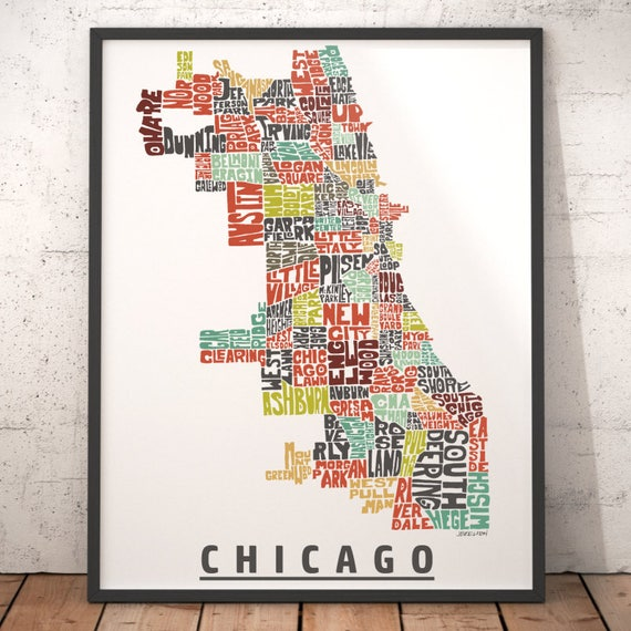 Chicago Map Art Chicago Art Print Chicago Typography Map - Chicago neighborhood map art