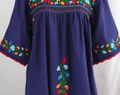 """Embroidered Peasant Blouse: """"La Marina"""" in Denim with Multi-color Fiesta Embroidery ~ Size LARGE"""