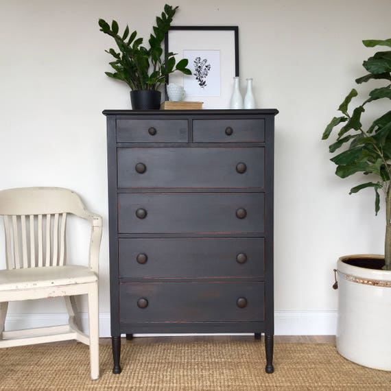 Farmhouse Dresser - Refinished Furniture - Tall Chest of Drawers - Country Cottage Furniture - Tall Black Dresser - Fixer Upper Furniture