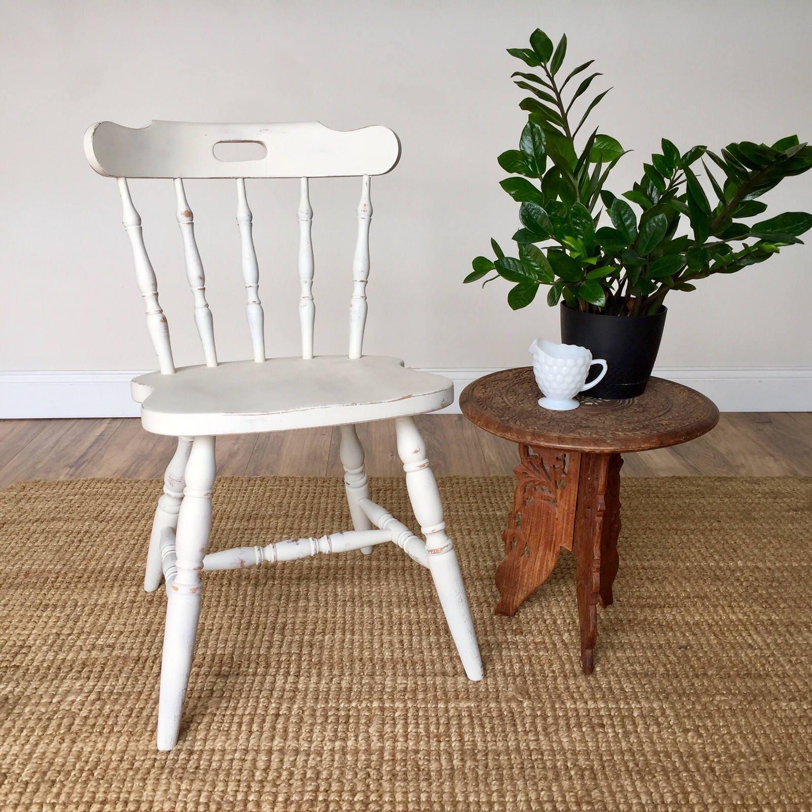 Small Dining Chair Farmhouse Furniture White Wood Chair