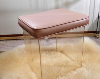 Clear Acrylic Vanity Stool with Mauve Vinyl Cushion Mid Century Modern Design Lucite Powder Room Chair Rose Pink Foot Rest