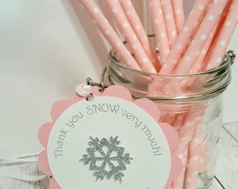 Snowflake Winter ONEderland FAVOR TAGS Thank you tags personalized glitter birthday party decorations