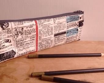 Pencil case, newsprint pencil case, notions pouch, school pencil case, makeup bag, notions case, back to school, school supplies, zip pouch