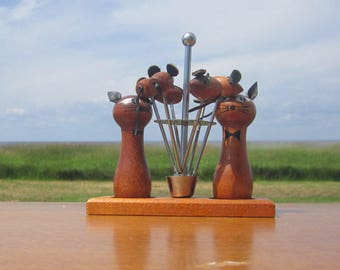 Danish Modern Teak Set Salt and Pepper Cat and Mice Mouse With Leather ears - Cocktail forks Skewer set Mid Century modern Barware Home Bar