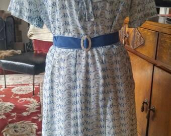 Vintage 1950s powder blue eyelet summer dress, L