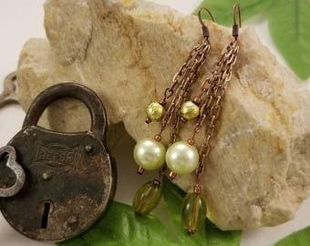 Green Rose Gold Dangle Earrings
