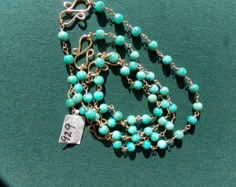 Amazonite necklace or bracelet  gold filled link 28 inches gemstone handmade item 929