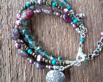 Pink Tourmaline Bracelet, Wrap Bracelet, Charm Bracelet, Multiple Strand Bracelet, Chunky Bracelet, Bohemian Jewelry, Boho Jewelry