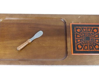 Midcentury Cheese Board Tile Wood Server Hand Carved Hardwood Tray Appetizer Hors D'oeuvre Server