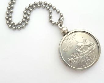 Virginia State Quarter Coin Necklace with Stainless Steel Ball Chain or Key-chain - 2000