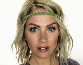 The Ashley - Lime Green Boho Forehead Headband
