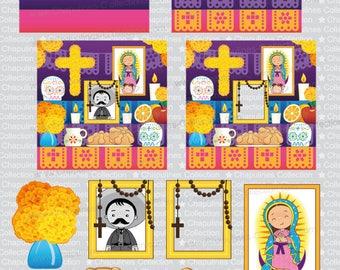 Clipart Altar for the Dead, Altar de Muertos, Day of the Dead, Día de Muertos, PNG images, Set 146