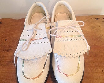 1960s golf shoes vintage golf cleats white golf spikes rainbow stitching golf shoes 60s 1960s sixties womens golf shoes vintage golfing
