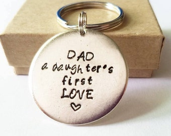 Dad- A Daughters First Love Keychain- Personalized customized Mens Key Ring - Father of the Bride - New Dad - Birthday Gift